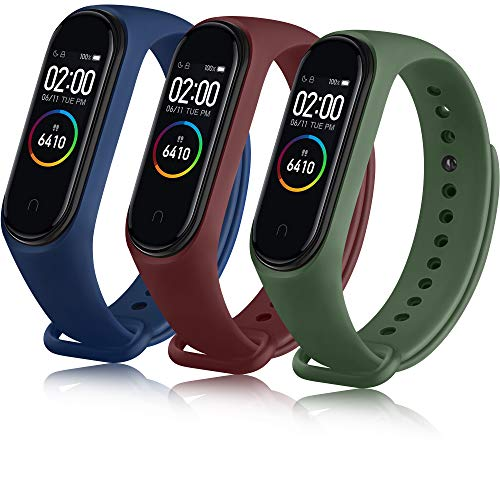 QHAN Compatible con Xiaomi Mi Band 4 Correa/Xiaomi Mi Band 3 Correa, Banda de Repuesto Reloj Silicona Coloridos para Xiaomi Mi Band 4 Pulseras Mujer Hombre (Vino Rojo/Verde Musgo/Azul)