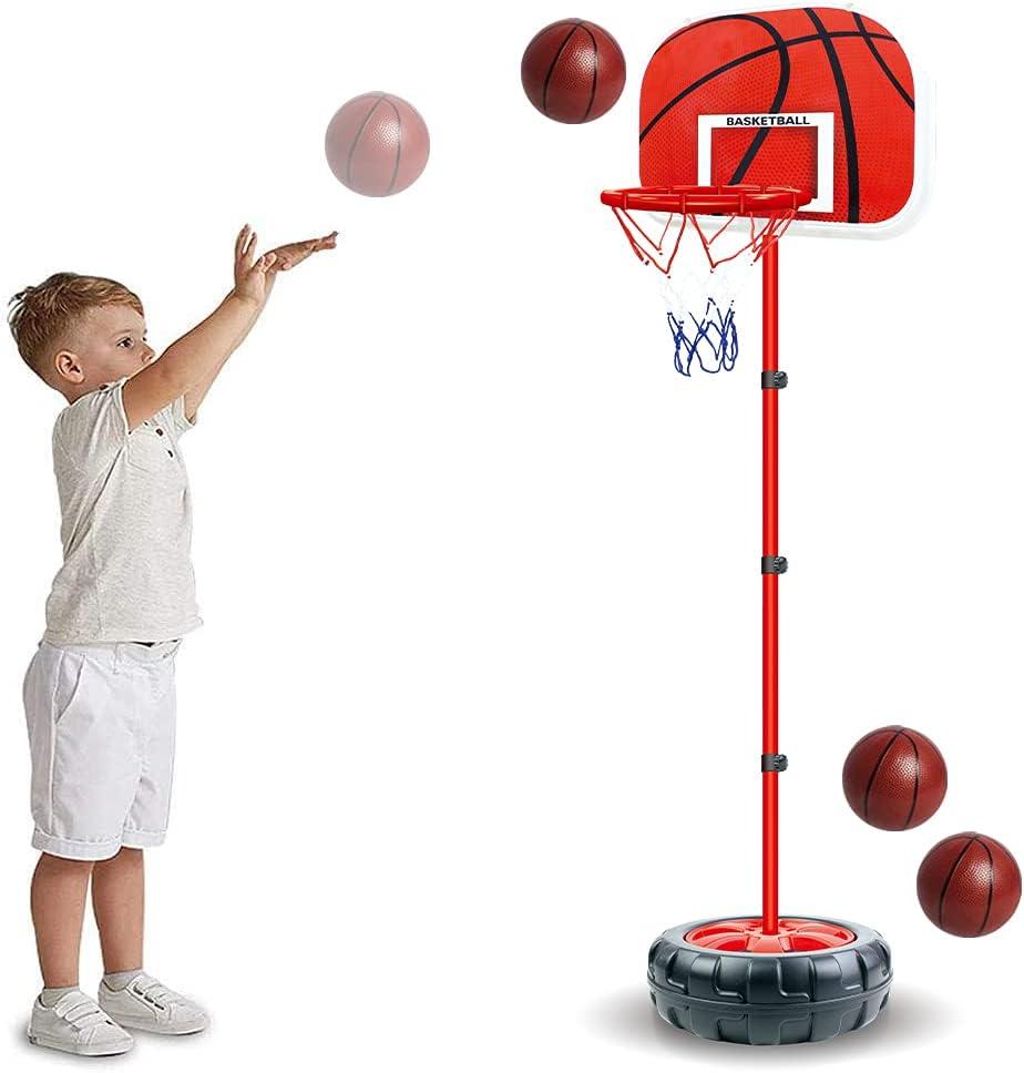 Kids Basketball Hoop Stand Adjustable Height - 2 in 1 Indoor Bas
