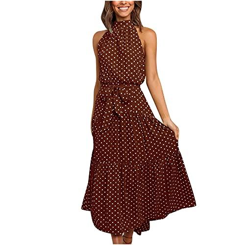 TRIGLICOLEUM Sommerkleid Damen Ärmelloses Druck Prom Kleid Elegantes Ballkleid Polka Dot Maxikleid Abendschlinge Langes Kleid Wickelkleid Ärmelloses Kleid (Coffee, X-Large)