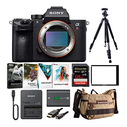 Sony Alpha a7R III Mirrorless Camera (Body Only) with Software Suite, Gadget Bag, 128GB SD Card, and Accessory Bundle (9 Items)