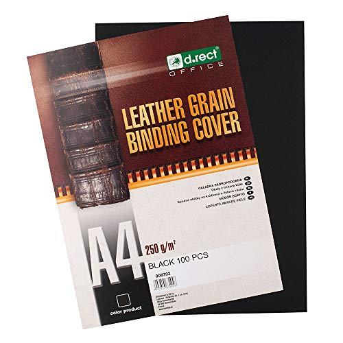 D.RECT 8702 Rückwände Deckblätter mit Lederstruktur Rückenkarton 250 gr/m², Rückendeckel für Bindungen A4 Verpackung 100 Stück Schwarz