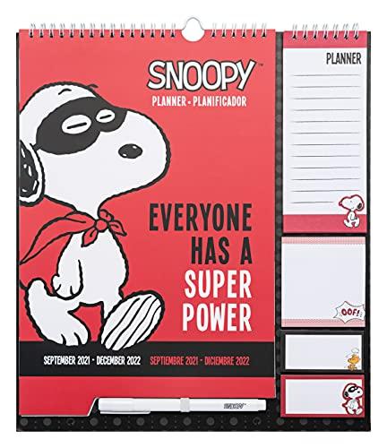 Calendario de pared Snoopy - Planificador mensual │ Calendario agenda de pared 16 meses - Producto con licencia oficial