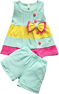 Toddler Baby Girls Clothes Sleeve Top Vest + Short Pant 2pcs Cute Newborn Kids Summer Outfits...