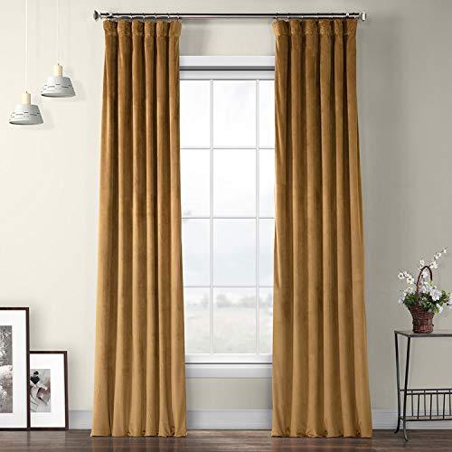 HPD Half Price Drapes VPYC Heritage Plush Velvet Curtain (1 Panel), 50 X 84, Spiced Rum