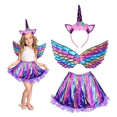 3 Pezzi Costume Unicorno Bambina MEZZOM Gonna da Bambina Unicorna Halloween con Cerchietto Unicorno Vestito Tutu Gonna Ali Arcobaleno per Feste di Compleanno Servizio Fotografico Halloween Party