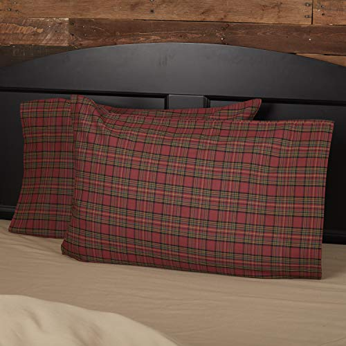 VHC Brands Primitive Rustic & Lodge Tartan Red Plaid Bedding Accessory, Standard Pillowcase Set 21x30
