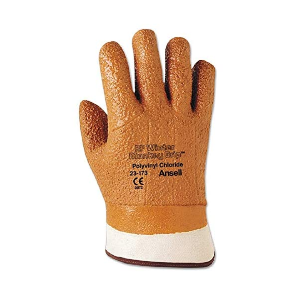 Ansell 23-173-10 Size 10 Raised Finish Winter Monkey Grip Cold Weather Gloves