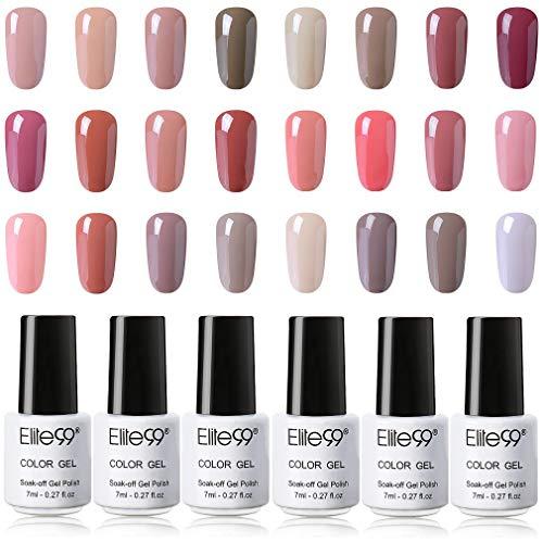 Elite99 Esmaltes Semipermanentes de Uñas en Gel UV LED, Selección de Tono de Beige, Nude Color, 24pcs de Esmaltes de Uñas 7ML Set Completo