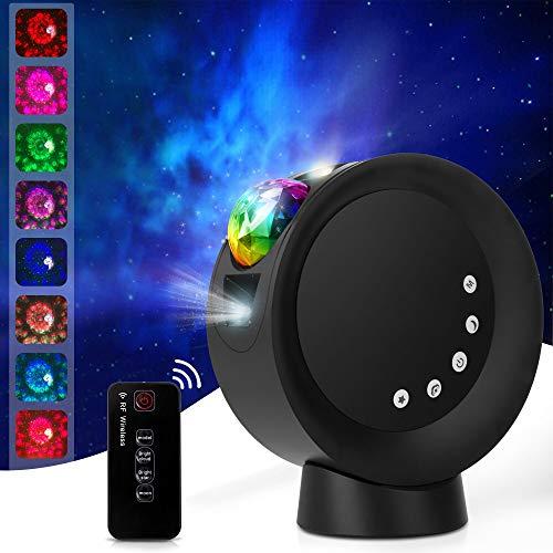 LED Sternenhimmel Projektor, Rotierende Projektionslampe, mit Wiederaufladbare Batterie Nachtlichter,Kinder Sterne Lampe mit Fernbedienung, für Raumdekoration, Heimkino oder Nachtlicht Ambiente