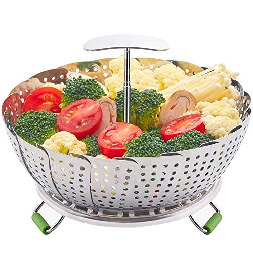 LHS Food Steamer Basket, Stainless Steel Kitchen Steamer Collapsible Steamer, Insert for Veggie Fish Seafood Cooking, Expandable to Fit Various Size Pot (5.9' to 9.3') S