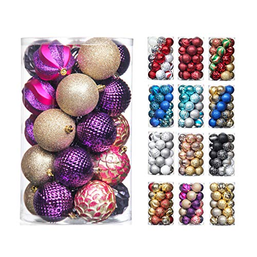 31pcs 70mm & 50mm Christmas Decoration Balls Shatterproof Colorful Set Ornaments Balls for Festival Wedding Home Party Decors Xmas Tree Hanging (Purple & Champagne & Rose Red )
