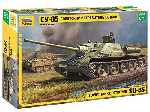 Zvezda 500783690 500783690-1:35 SU-85 Soviet self propelled Gun-Plastikbausatz-Modellbausatz-Zusammenbauen-Bausatz-für Einsteiger-detailliert, Khaki