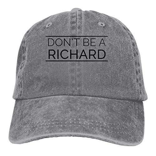 XCNGG Dont Be A Richard Sombreros de Vaquero Unisex Sombrero de Mezclilla Deportivo Gorra de béisbol de Moda Negro