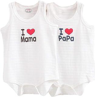 2 Pack Mameluco Recién Nacido Verano Sin Mangas Body I Love Mama/Papa Pijamas Bebé Algodón Mono Unisex