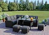 Abreo 9 Seater Corner <span class='highlight'>Rattan</span> Dining Set Garden Sofa <span class='highlight'>Furniture</span> Black Brown Grey (Black with Dark Cushions)