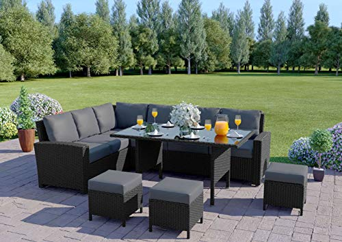 Abreo 9 Seater Corner Rattan Dining Set Garden Sofa Furniture Black Brown Grey (Black with Dark Cushions) INCLUDES OUTDOOR COVER