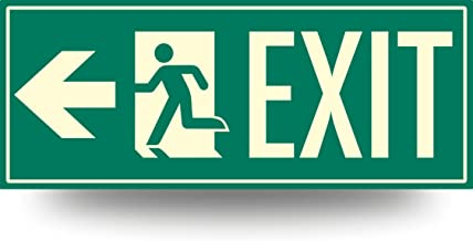"Low Proximity Photoluminescent Exit Sign Running Man (Left Arrow) 15"" x 6"". Aluminum Code Approved ASTM E2072"