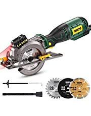 """Mini Circular Saw, TECCPO 5.8A Circular Saw with Laser Guide, Fine Copper Motor, Max Cutting Depth 1-11/16'' (90°), 1-1/8"""" (45°), 3 Blades for Wood, Soft Metal, Tile Cuts - TPMS115A"""