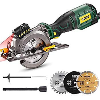 Mini Circular Saw TECCPO 5.8A Circular Saw with Laser Guide Fine Copper Motor Max Cutting Depth 1-11/16    90°  1-1/8   45°  3 Blades for Wood Soft Metal Tile Cuts - TPMS115A