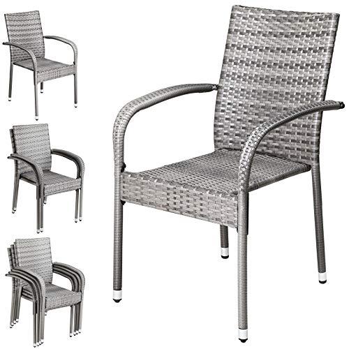 CASARIA Juego de 4 sillas de jardín Gris de poliratán Set de Asientos con reposabrazos y apilables