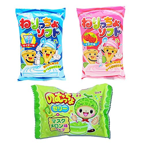 MARUTA candy Japanese DIY candy making kit 'Neritcho Soft' fluffy candy, SODA, STRAWBERRY flavor and 'Nomutcho jelly' MELON flavor, 3count