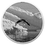 Impresionantes pegatinas de vinilo (juego de 2) 30 cm BW – Pingüinos saltando Iceberg Pingüino Divertidos calcomanías para portátiles, tabletas, equipaje, reserva de chatarras, neveras, regalo genial #43084
