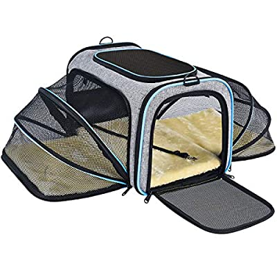 OMORC Pet Carrier Airline Approved, Expandable Foldable Soft-Sided Dog Carrier, 3 Open Doors, 2 Reflective Tapes, Pet Travel Bag Safe and Easy for Cats and Dogs (Grey)
