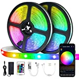 Striscia LED 5Mx2, VIBIRIT Dimmable RGB 5050 SMD Adhesive LED Strip Light, Flessibile Luce nastro impermeabile WiFi Controller Luce banda Sync con Musica Applicazione a casa, cucina, TV, party, Bar