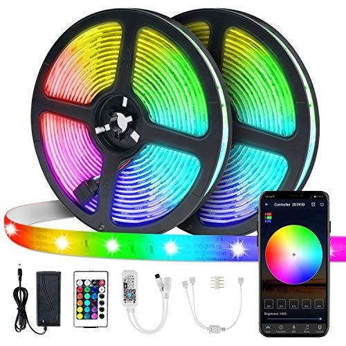 LED Streifenlicht,VIBIRIT Farbwechsel Seil Licht 2x5M Flexibles Bandlicht mit WiFi Controller Wasserdichtes Tape Light Sync mit Musik Bewerben Sie sich auf Home, Küche, TV, Party, Bar