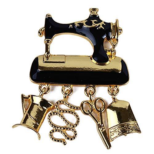 SUNSKYOO Broche para máquina de coser, diseño creativo de metal esmaltado, colgante de gota de aceite