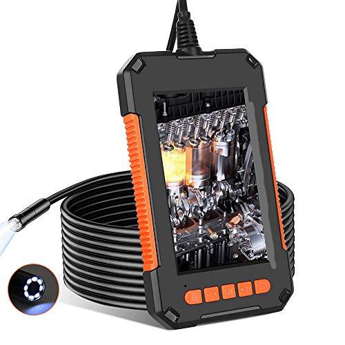 Endoskopkamera mit Licht, Endoskop Kamera, 1080P HD 8mm Industrielles Inspektionskamera mit 4,3 Zoll IPS Bildschirm, IP67 wasserdichte Rohrkamera mit 8 Einstellbare LED-Leuchten (5M/16.5 FT)