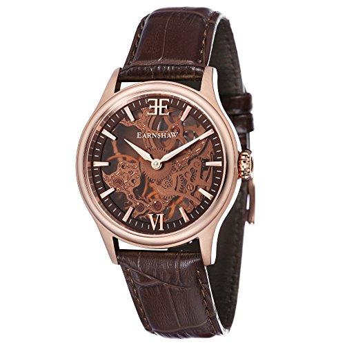Thomas Earnshaw Bauer Shaddow ES-8061-04 mechanisch herenhorloge, bruine wijzerplaat met skeletweergave, bruin lederen armband