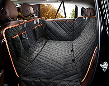 Dog Seat Cover for Back Seat Waterproof Dog Hammock Scratchproof Pet Seat Covers with 4 Bags Side Flaps & 2 Dog Seat Belts Washable Nonslip Seat Protector for Cars Trucks and SUVs