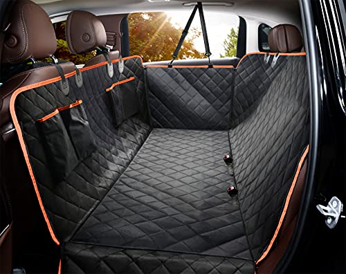 Giomoc Dog Car Seat Cover for Back Seat, Waterproof Seat Protector Scratchproof Pet Hammock with 4 Bags Side Flaps, Washable Nonslip Backseat...