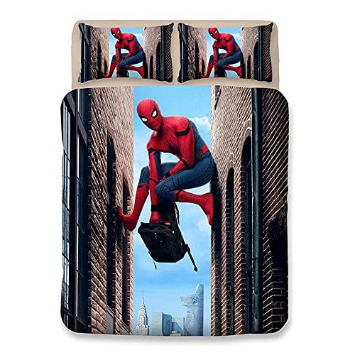 Aatensou - Juego de ropa de cama de Spiderman, microfibra 3D, juego de 3 piezas, incluye 1 funda nórdica de 135 x 200 cm y 2 fundas de almohada (2,200 x 200 cm + 80 x 80 cm x 2).