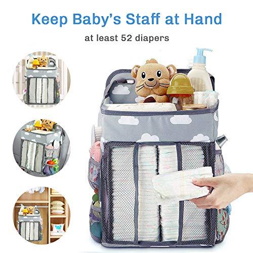 Organizador de Pañales, Bebé Recién Nacido Apilador, Bolsa de Pañales de la Cama de Bebé Colgante, Portátil, Plegable para Cuna de Bebé de Almacenaje Multiuso - Gris