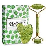 Jade Roller Viso Giada Roller Gua Sha massaggio strumento di nuova versione naturale ringiovanisce pietra per anti-invecchiamento collo Wrinkgless (verde)