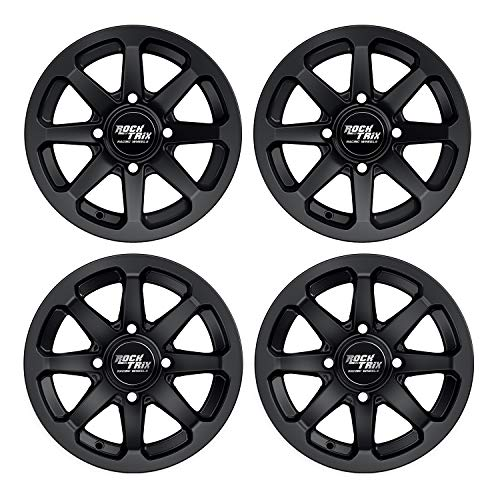RockTrix RT102 12in ATV Wheels 4x110 Rims | 12x7 | 5+2 F and 2+5 R Offset | Compatible with SRA Honda Foreman 400 450 500, Rancher 350 400 420 Solid Rear Axle - Set of 4