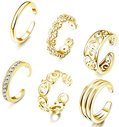 FIBO STEEL 6 Pcs Open Toe Rings for Women Girls CZ Band Toe Ring Flower Celtic Knot Simple Toe Ring Gifts Jewelry Set Adjustable