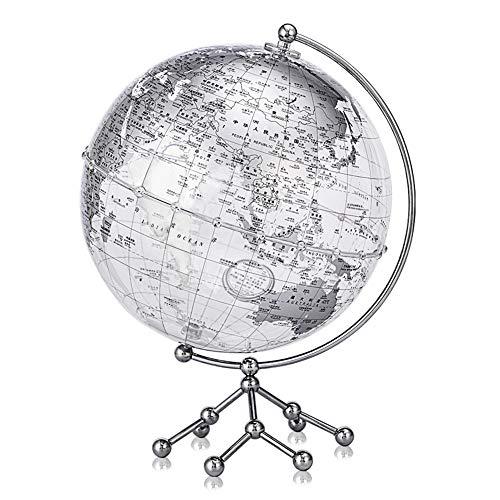 BTTNW Lehrmaterial Globen Erde Geographie Globe Educational Weltkugel mit Goldener Metallhaltig Student Home Office Geographische Globes (Farbe : Silver, Size : 25cm)