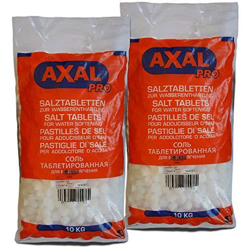 Axal Pro 20kg Salztabletten Regeneriersalz 2x10kg Tabletten-Form Wasserenthärtungsanlagen Pools