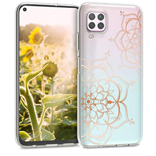 kwmobile Hülle kompatibel mit Huawei P40 Lite - Handyhülle - Handy Case Blumen Zwillinge Rosegold Transparent
