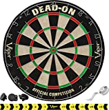 Viper Dead-On Tournament Bristle Steel Tip Dartboard Set with Staple-Free Bullseye, Metal Triangular Spider Wire for Reduced Bounce Outs and Increased Scoring; High-Grade Self-Healing Sisal Board