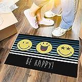 LILENO HOME Fussmatte 40x60 cm Be Happy - Schmutzfangmatte für innen u. außen - Lustige Fußmatte Schwarz/Gelb - Waschbare u. rutschfeste Fussabtreter Türmatte als Türvorleger dünn