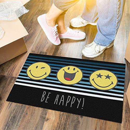 LILENO HOME Felpudo 40 x 60 cm Be Happy – Felpudo para interior y exterior – divertido felpudo negro/amarillo – lavable y antideslizante – felpudo para puerta fina