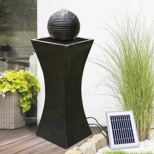 Gartenbrunnen Solarbrunnen ELEGANTIA mit LED-Licht, Brunnen Vogelbad Wasserfall, Gartendeko mit Pumpe, Wasserspiel für Garten Terrasse, Balkon, Sehr Dekorativ