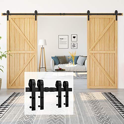 "Homlux 12ft Heavy Duty Sturdy Sliding Barn Door Hardware Kit Double Door - Smoothly and Quietly - Simple and Easy to Install - Fit 1 3/8-1 3/4"" Thickness Door Panel(Black)(J Shape Hangers)"