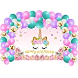 Unicorn Birthday Party Supplies Decorations For Girls, Rainbow Unicorn Party Backdrop And Balloons Kit For Photo Background, Photo Backdrop Gift