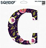 Squiddy Floral Letter C Pretty Roses Design - Vinyl Sticker Decal for Phone, Laptop, Water Bottle (2' Tall)
