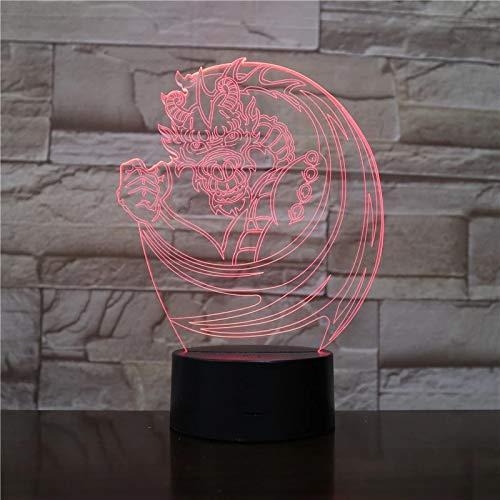 Elemento chino dragón lámpara de mesa 3D LED luz de noche acrílico multicolor decoración habitación regalo